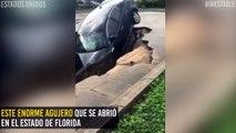 ¡Peligro en la vía! El enorme agujero que se abrió en una carretera de Florida