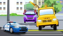 The Blue Police Car - Real Cars & Trucks Cartoon for children |  Chi Chi Puh - C