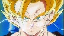 Goku les muestra la transformación del SSJ3 a Goten & Trunks DBZ