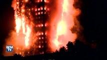 Un immeuble détruit par les flammes à Londres