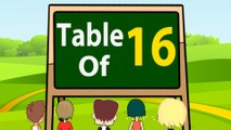 16 Times Table Multiplication   Learn 16x Table   Learn Sixteen Multiplication Tables For Kids