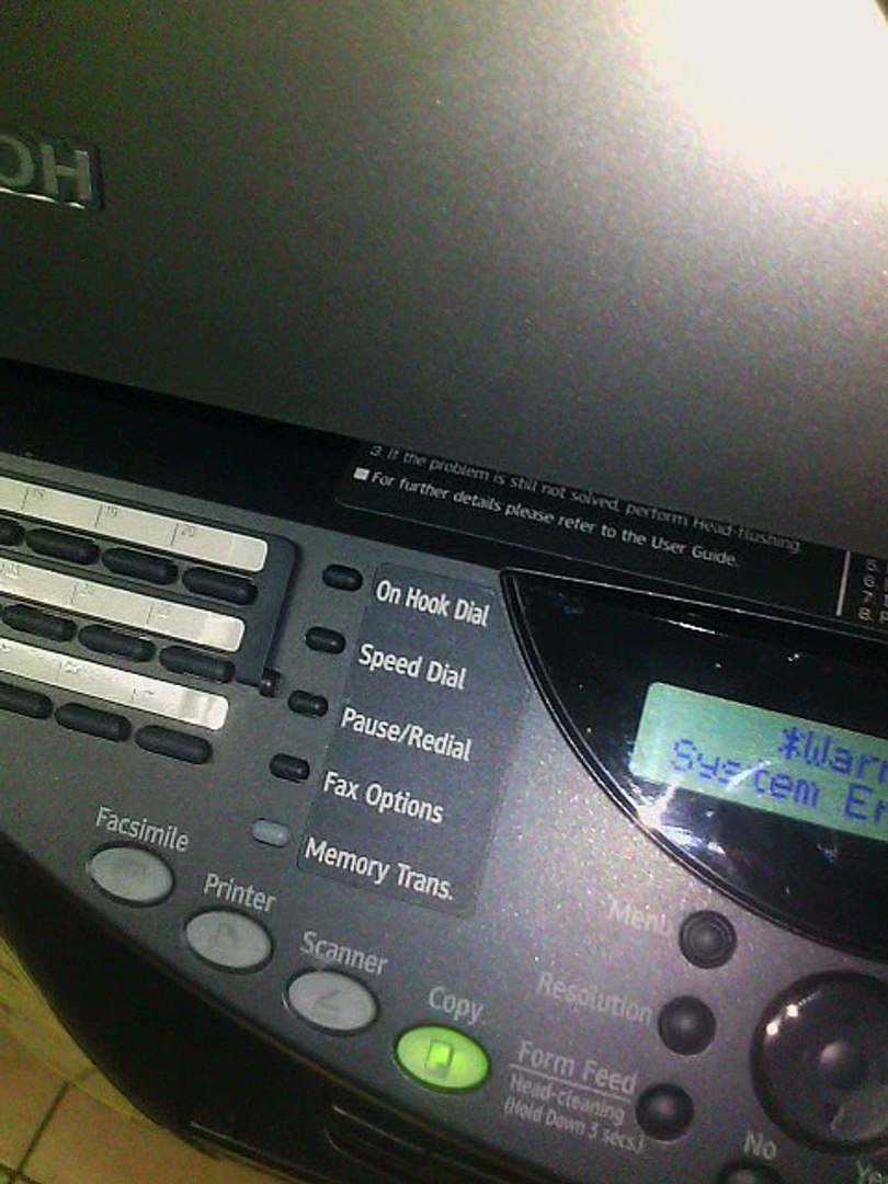 How to clear Error (System Error S001 ) Ricoh Printer