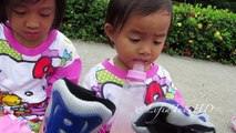 Unboxing Inline Skates - Children Playing in the park with Roller Skates Inline Skate Sepa