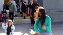 204.Reign Disick Runs Away From Kourtney Kadarshian And Scott Disick To Photographers At Bowling Alley