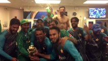 Pakistani Players celebration in dressing room after Champions Trophy win