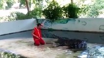 Horrifying moment crocodile clamps jaws down on Thai zookeeper's head in stunt gone wrong
