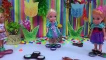 Fidget Spinners ! Elsa & Anna Toddlers in Spinner Land Dinosaur breaks Spinner Search Play
