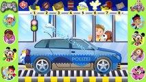Voiture des voitures dessin animé chasse enfants pour enfants vidéos lavage Police |