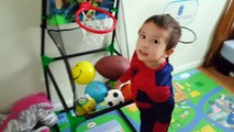 Learn Sports Balls and Toys For Kids - Spiderman vs Elsa Playing Basketball Sports Ball So