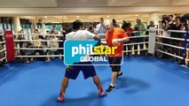 Manny Pacquiao doing mittwork with Freddie Roach