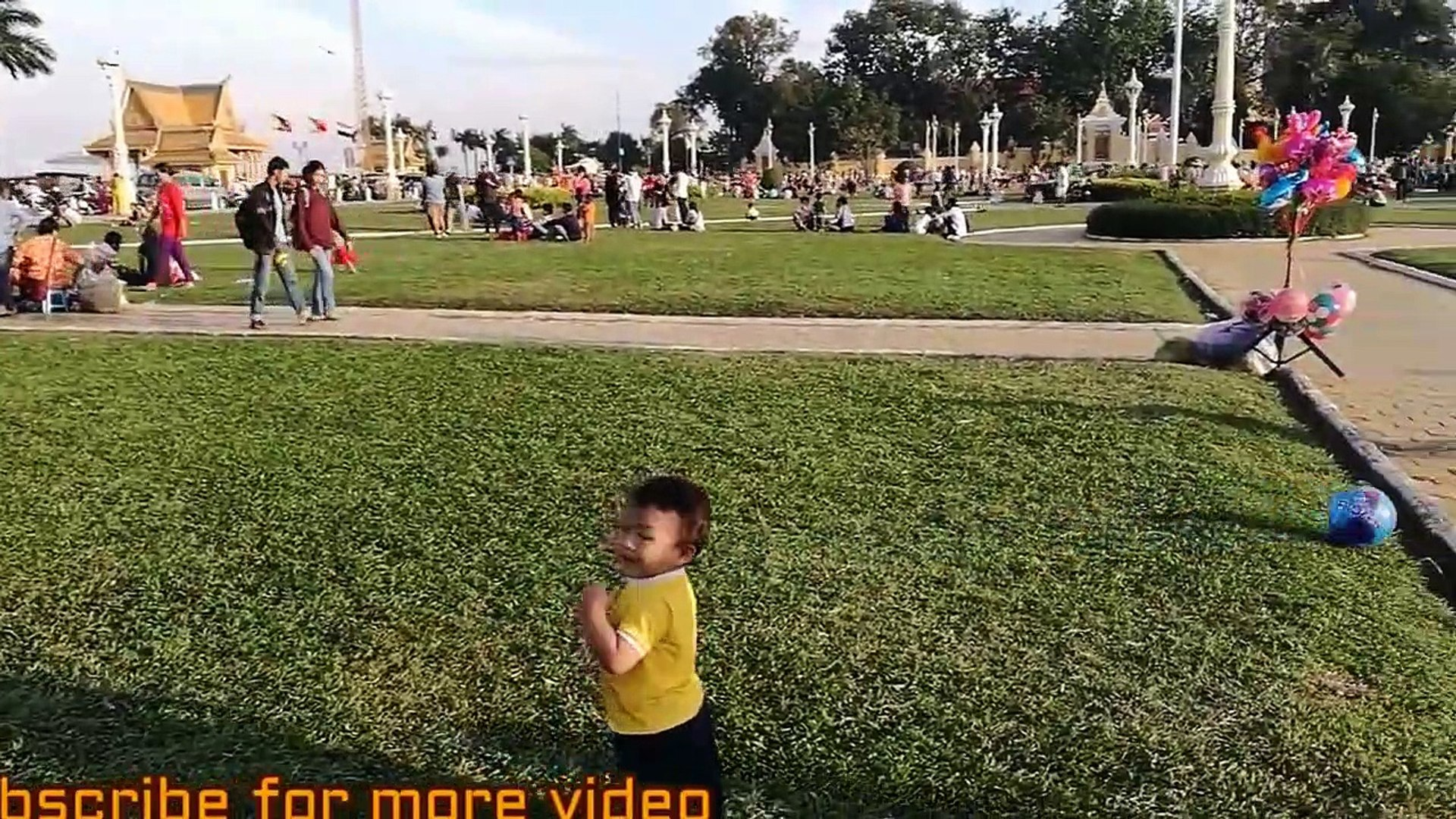 Baby kid play football in