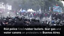 Riot police have clashed with protesters in Buenos Aires