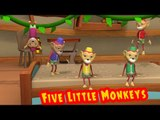 ★2 HOURS★Five Little Monkeys Jumping on the Bed Nursery Rhyme - 3D Animation Rhymes for Children