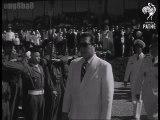 """Quốc trưởng Bảo Đại , Tướng Salan ( Tổng tư lệnh Pháp tại Đông Dương  ) và ông Trần Văn Hữu ( Thủ tướng Việt Nam ) trong lễ khai giảng khóa sĩ quan """"Hoàng Diệu"""" tại trường Võ Bị Quốc gia Đà Lạt, Đà Lạt tháng 04/1952"""