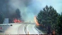 Chamas incendeiam Auto-Estradas em Pedrógão Grande. Estradas em Chamas.