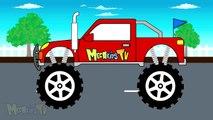 Homme chauve-souris voiture enfants mal pour bon enfants petit monstre rouge effrayant un camion camions contre |