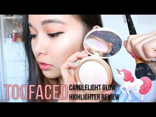 TooFaced Candlelight Glow Highlighter Review   SWATCHES AND TRY-ON!