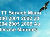 Read  Audi TT Service Manual 2000 2001 2002 2003 2004 2005 2006 Audi Service Manuals  free book ad3e75bf