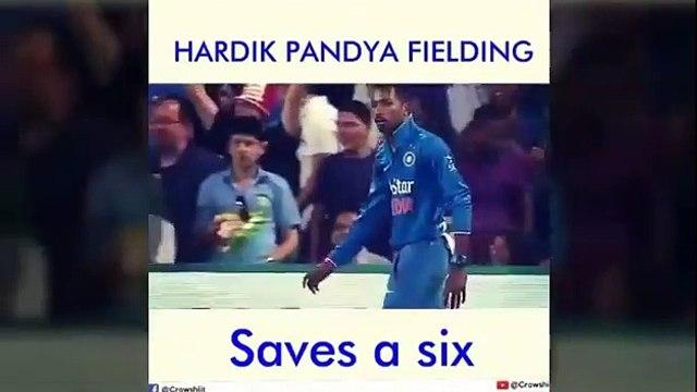 Hardik Pandya saves a six || best fielding by hardhik