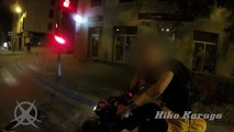 Road Rage - un motard se fait menacer par un scootériste