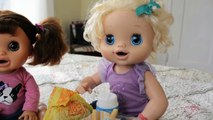 Baby Alive Dolls Mcdonalds Happy Meal and Kroger Kid Size Shopping Cart Trip W/ Play Doh G