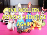 EVIL MCQUEEN ATTACKS ARENDELLE AGAIN MINIONS AGNES GRU ELSA ANNA BOWSER MINNIE MOUSE MICKEY Toys Kids Video LIGHTENING M