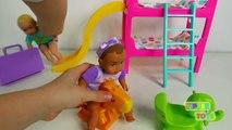 Et bébé heure du coucher poupée alimentation garderie récréation rimes poussette temps équipe vidéo avec Playset f