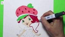 Filles fraise fille regarder le croquis / dessin / fraise