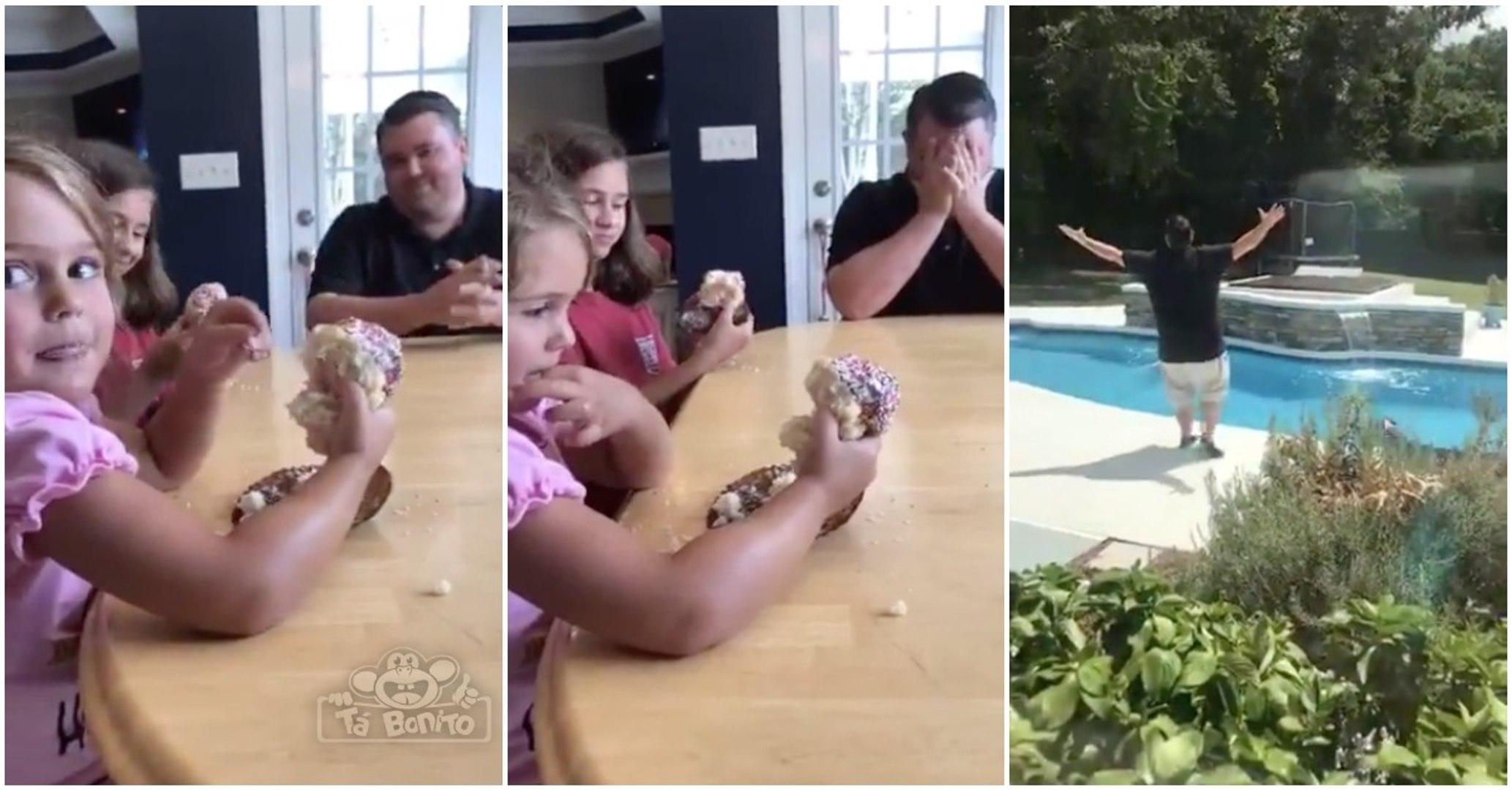 A reação de um pai de quatro meninas ao descobrir o género do seu próximo filho... HILARIANTE!