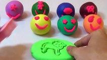 Et Créatif pâte visage amusement amusement briller content en riant moule jouer avec Doh smiley animal