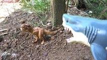 Attaque dinosaures longue requin contre requin jouet et crocodiles géants attaque terrible crocodile