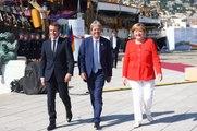 Conférence de presse conjointe d'Emmanuel Macron, Angela Merkel et Paolo Gentiloni le mercredi 12 juillet 2017 au sommet des balkans occidentaux à Trieste.