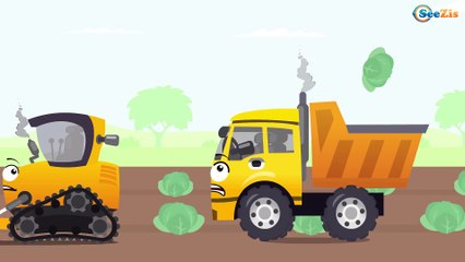The Red Bulldozer and Truck - Construction Video for Kids - World of Cars for children