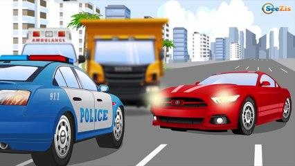 Best Of de la Super équipe, voiture de police et camion pompier dans la ville   Dessins animés