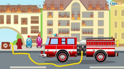 The Fire Truck Putting Out Fires | Service & Emergency Vehicles Cars & Trucks Cartoon for children