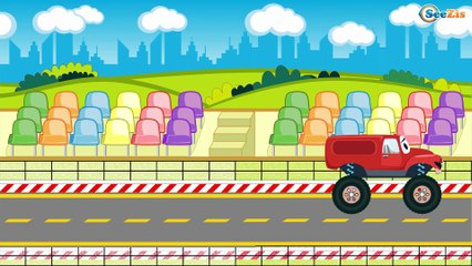 Racing Cars with The Blue Police Car - The Big Race in the City of Cars Cartoons for Children