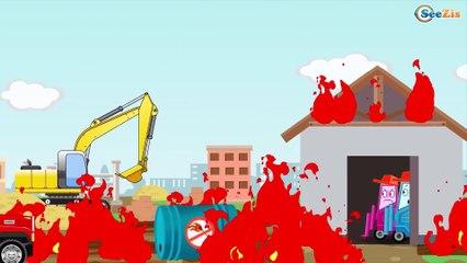 Excavator, Truck, Tow Truck and Crane in City | Trucks cartoon for children