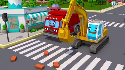 The Yellow Excavator and Giant Red Truck - Construction Trucks 3D Kids Cartoon Cars & Trucks Stories