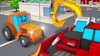 New Kids Video Tractor & Excavator play on the road - 3D Animation For Kids Cars & Trucks Stories