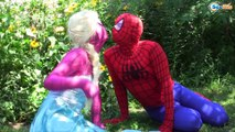Frozen Elsa & Spiderman Elsa LOSES HER DRESS Princess Anna Maleficent Spidergirl Superheroes Real :)