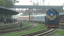 Kolkata bound Dhaka kolkata Maitree Express leaving Dhaka Airport Railway Station / Bangladesh End
