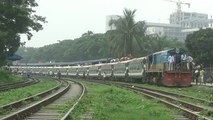 Tista Express (Dhaka to Dewangang) Train of Bangladesh Railway departing Dhaka Airport Railway Station