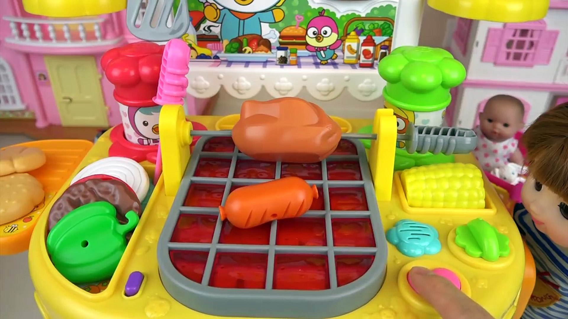 Baby Doll And Grill Kitchen Food Cooking Toys Play Video Dailymotion