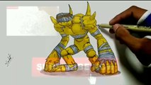 Crazy Art -  How to Draw -  Golemon -  from Digimon - Digimon draw -   Drawing -  2017