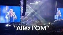 """Les images de Céline Dion qui chante """"Allez L'OM"""" au stade Vélodrome"""
