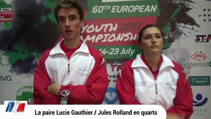 Lucie Gauthier et Jules Rolland en quarts !
