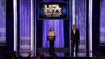 Warren Beatty Presents New Hollywood Award to Lily Collins Hollywood Film Awards 2016