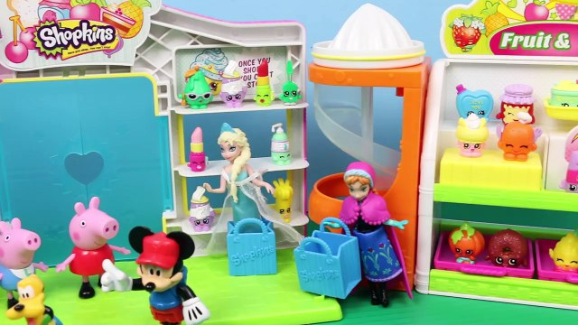 Peppa Pig in Shopkins Surprise Basket with Frozen Elsa and Anna and Daddy Pig Opening Shop