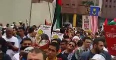 Hundreds of Malaysians Gather at US Embassy to Support Palestinians