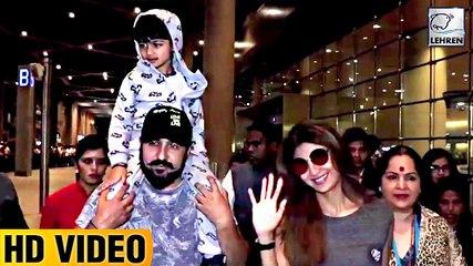 Shilpa Shettys Husband Raj Kundra Cutely Carries Son Viaan On His Shoulders